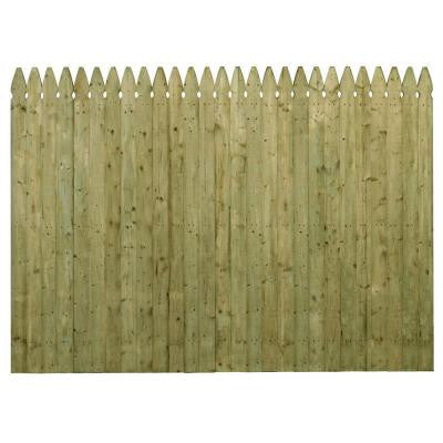 6 ft. x 8 ft. Pressure-Treated Spruce Pine Fir 4 in. French Gothic Stockade Fence Panel