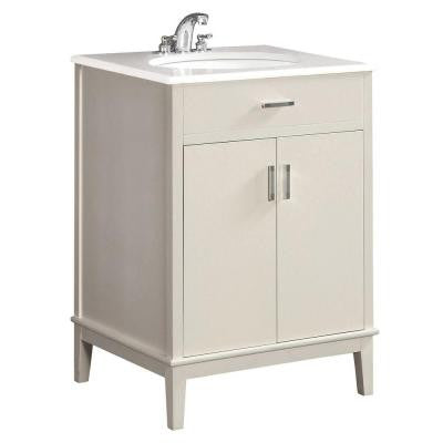 Urban Loft 24 in. Vanity in White with Quartz Marble Vanity Top in White and Under-Mounted Oval Sink