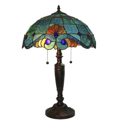 Tiffany Style 25 in. Blue Vintage Table Lamp