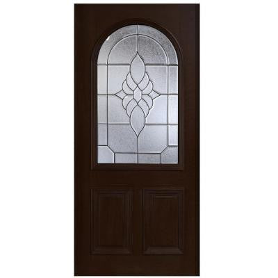36 in. x 80 in. Mahogany Type Round Top Glass Prefinished Espresso Beveled Patina Solid Wood Front Door Slab