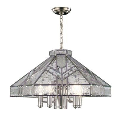 6-Light Antique Silver 6-Sided Hanging Fixture