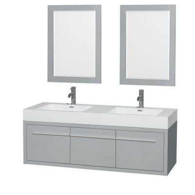 Axa 60 in. W x 21.75 in. D Vanity in Dove Gray with Acrylic Resin Vanity Top in White with White Basins and Mirrors