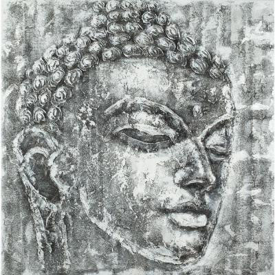 "39.3 in. x 39.3 in. ""Buddha in Black and White"" Wall Art"