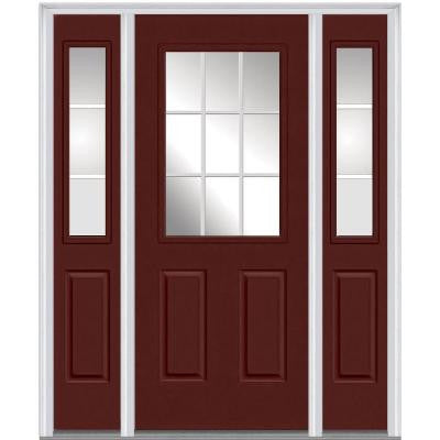 64 in. x 80 in. Classic Clear Glass GBG 1/2 Lite Painted Majestic Steel Prehung Front Door with Sidelites