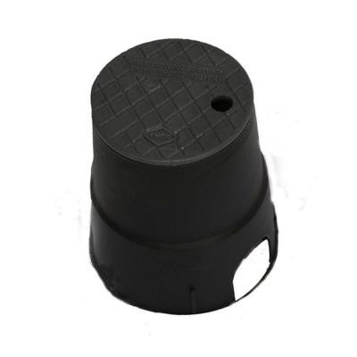 7 in. Round Valve Box in Black Body Black Lid
