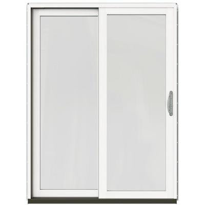 59-1/4 in. x 79-1/2 in. W-2500 Chestnut Bronze Left-Hand Clad-Wood Sliding Patio Door with Brilliant White Interior