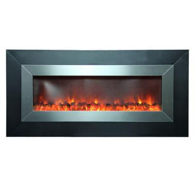 Aries 53 in. Wall-Mount Electric Fireplace in Stainless Steel