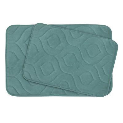 Naoli Marine Blue 20 in. x 30 in. Memory Foam 2-Piece Bath Mat Set