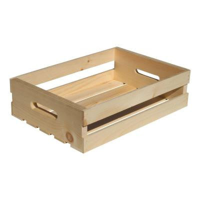18 in. x 12.5 in. x 4.625 in. Natural Pine Half Crate