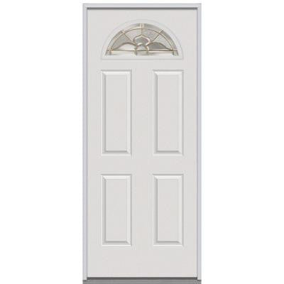 36 in. x 80 in. Master Nouveau Decorative Glass Fan Lite 4-Panel Primed White Steel Replacement Prehung Front Door