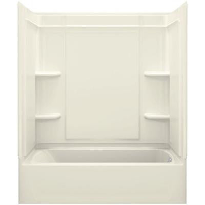 Ensemble Medley 60 in. x 30 in. x 75 in. 4-piece Tongue and Groove Tub Wall in Biscuit