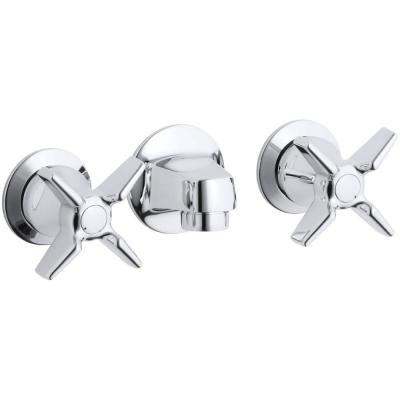 Triton 5-1/2 in. Wall-Mount 2-Handle Low-Arc Commercial Bathroom Faucet in Polished Chrome