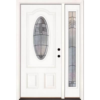 50.5 in. x 81.625 in. Rochester Patina 3/4 Oval Lite Unfinished Smooth Fiberglass Prehung Front Door with Sidelite