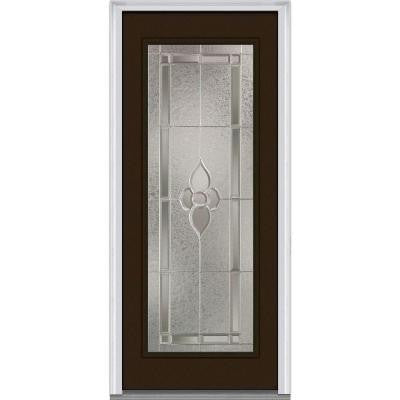 36 in. x 80 in. Master Nouveau Decorative Glass Full Lite Painted Majestic Steel Prehung Front Door