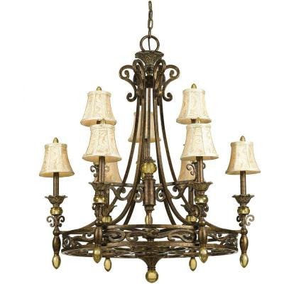 Baltic 9-Light Aged Antique Gold Chandelier with Ivory Shades