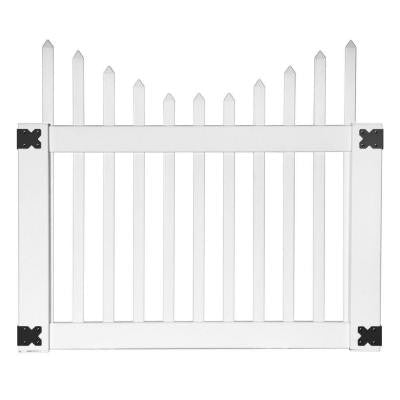 Pro Series 4 ft. x 3.5 ft. White Vinyl Alexandria Scalloped Spaced Picket Fence Gate
