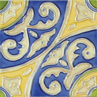 Hand-Painted Circulo Deco 6 in. x 6 in. Ceramic Wall Tile (2.5 sq. ft. / case)