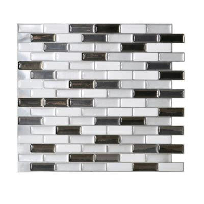 Murano Metallic 10.20 in. x 9.10 in. Mosaic Adhesive Decorative Wall Tile Backsplash in Grey (12-Piece)
