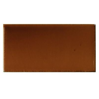 Hand-Painted Russet Red 3 in. x 6 in. Glazed Ceramic Wall Tile (1.25 sq. ft. / case)