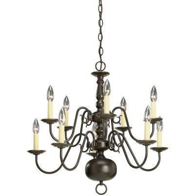 Americana Collection 10-Light Antique Bronze Chandelier