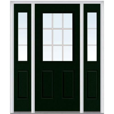 64 in. x 80 in. Classic Clear Glass GBG 1/2 Lite Painted Fiberglass Smooth Prehung Front Door with Sidelites