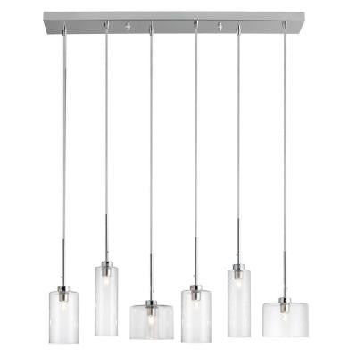 Industrial Chic 6-Light Polished Chrome Horizontal Pendant