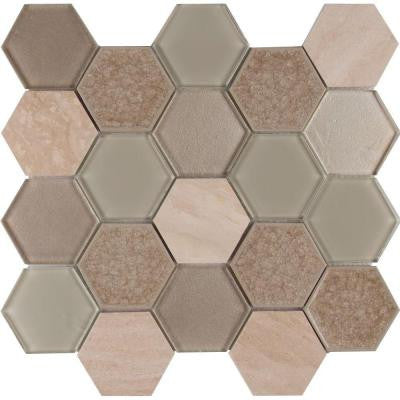 Monterra Blend Hexagon 12 in. x 12 in. x 8 mm Glass Stone Mesh-Mounted Mosaic Tile (10 sq. ft. / case)