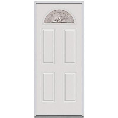 30 in. x 80 in. Heirloom Master Decorative Glass Fan Lite 4-Panel Primed White Steel Replacement Prehung Front Door