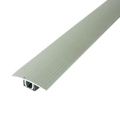 Cinch 1.5 in. x 36 in. Satin Silver Fluted T-Molding Transition Strip for Similar Height Floors with Snap Track