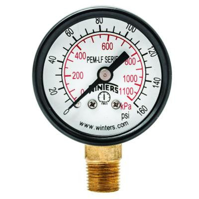 PEM-LF Series 1.5 in. Lead-Free Brass Pressure Gauge with 1/8 in. NPT LM and 0-160 psi/kPa