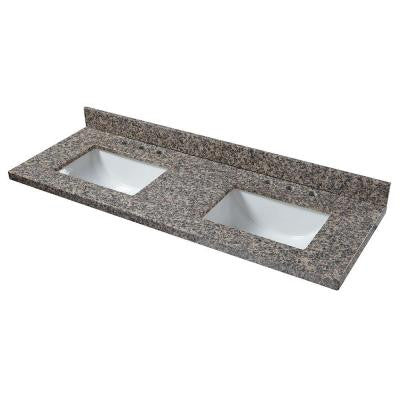61 in. Granite Double Bowl Vanity Top in Sircolo with White Basins