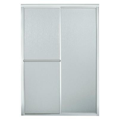 46 in. x 65-1/2 in. Framed Sliding Shower Door in Silver with Rain Glass Texture