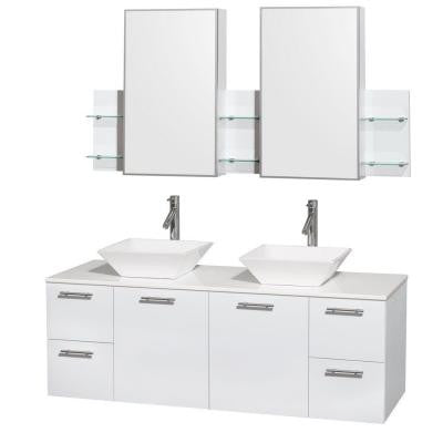 Amare 60 in. Double Vanity in Glossy White with Solid-Surface Vanity Top in White, Porcelain Sinks and Medicine Cabinet