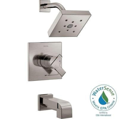 Ara 1-Handle H2Okinetic Tub and Shower Faucet Trim Kit in Stainless (Valve Not Included)