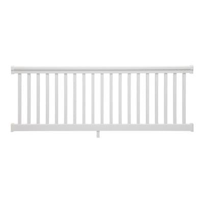 8 ft. x 36 in. PVC White Straight Rail Kit with Square Balusters