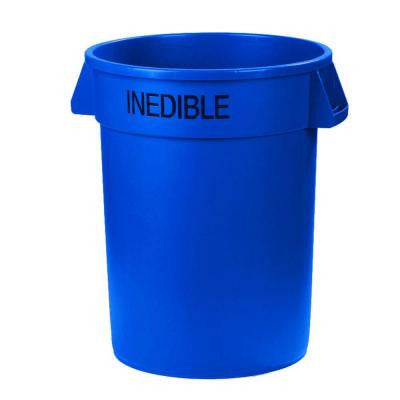 Bronco 32 Gal. Blue Round Trash Can Imprinted with Inedible (4-Pack)