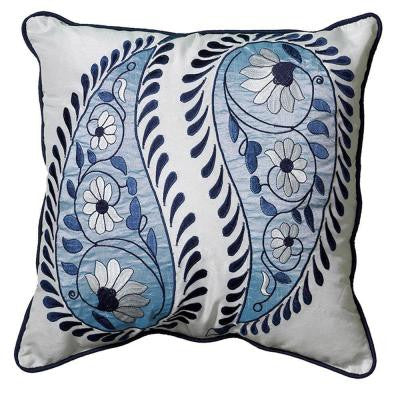 18 in. x 18 in. Contemporary Blue and White Square Decorative Accent Pillow
