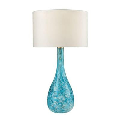 Mediterranean 29 in. Seafoam Green Table Lamp with Shade