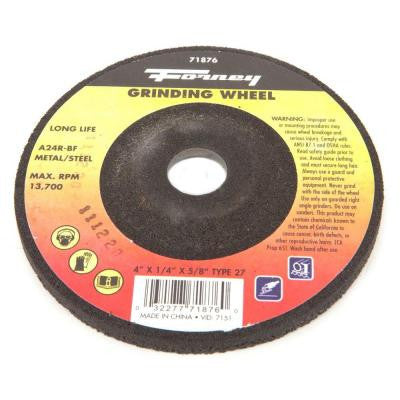 4 in. x 1/4 in. x 5/8 in. Metal Type 27 A24R-BF Grinding Wheel