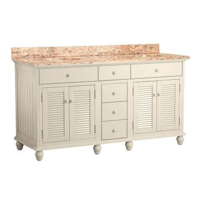 Cottage 61 in. W x 22 in. D Vanity in Antique White with Vanity Top in Santa Cecilia