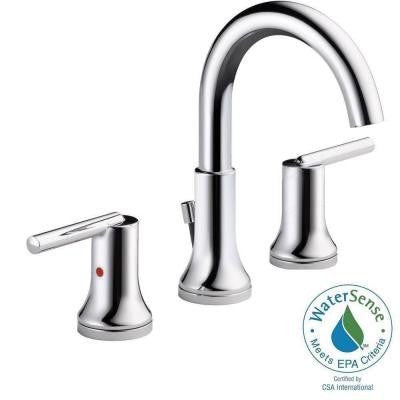 Trinsic 8 in. Widespread 2-Handle High-Arc Bathroom Faucet in Chrome with Metal Pop-Up