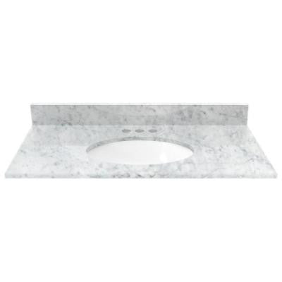 37 in. Marble Vanity Top in White Carrara with White Basin