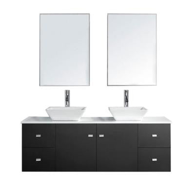 Clarissa 61 in. Double Vanity in Espresso with Stone Vanity Top in White and Mirror Cabinets
