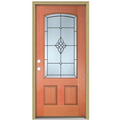 36 in. x 80 in. Rosemont Camber Top 3/4 Lite Unfinished Mahogany Prehung Front Door with Brickmould and Patina Caming