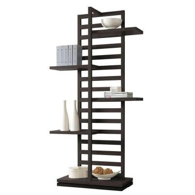 Mileta 5-Shelf Bookcase in Cappuccino