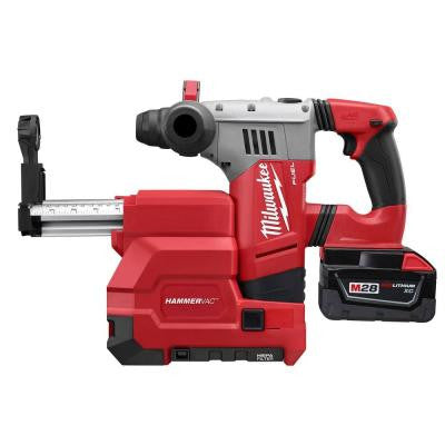 M28 FUEL 28-Volt Lithium-Ion Brushless 1-1/8 in. SDS Plus Rotary Hammer and HAMMERVAC Dedicated Dust Extractor Kit