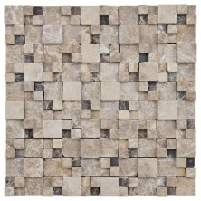 Griselda Gaodi Emperador 12 in. x 12 in. x 12 mm Natural Stone Mosaic Wall Tile