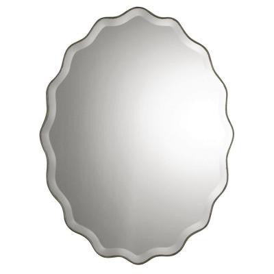 40 in. x 30 in. Antiqued Silver Wood Oval Framed Mirror