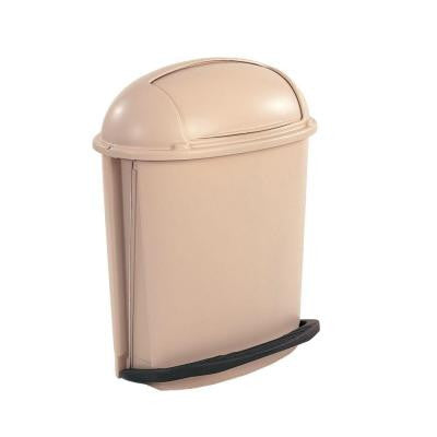 14.5 Gal. Beige Hands-Free Pedal Roll Top Trash Can