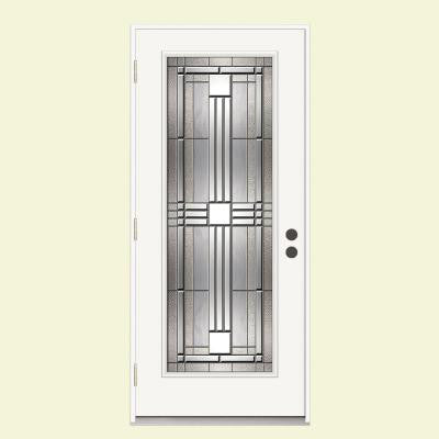 36 in. x 80 in. Cordova Impact Full-Lite Primed White Steel Prehung Front Door with Nickel Caming